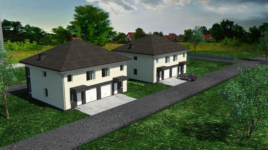 Mini osiedle budynków jednorodzinnych w zabudowie bliźniaczej z garażami